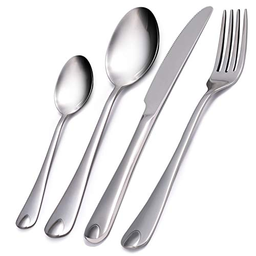 VKEEW 24-Piece Silverware Set Service for 6 Stainless Steel Cutlery Set for Home Kitchen Hotel Restaurant Tableware, Dishwasher Safe -
