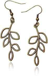 Bronze/Brass Tone Olive Tree Branch Leaf Earrings, Handmade Fishhook Dangle Womens Earring Set