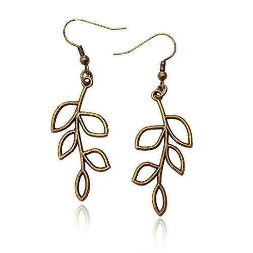 (Bronze/Brass Tone Olive Tree Branch Leaf Earrings, Handmade Fishhook Dangle Womens Earring Set )