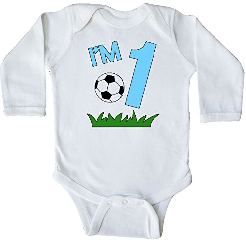 inktastic Im One! First Birthday Soccer Long Sleeve Creeper 18 Months White