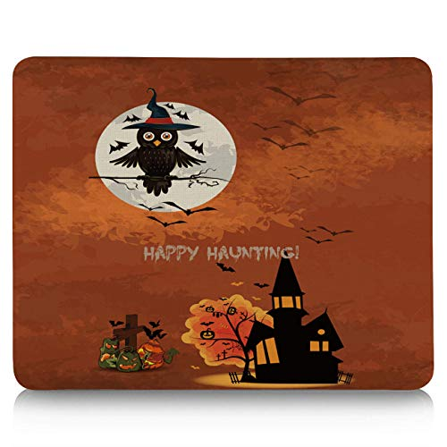 Gaming Mouse Pad, Happy Halloween Castle and Magic Owl Non-Slip Rubber Base Mousepad Rectangle Mouse Mat for Laptop, Computers, Office & -