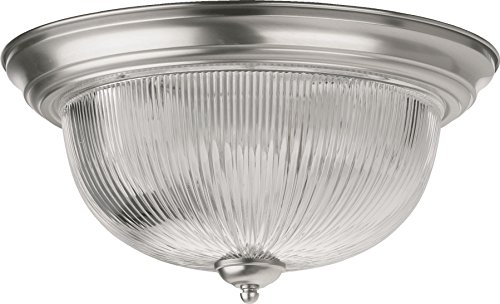 - Quorum International 3070-15-65 Bowl Flush Mounts with Clear Ribbed Glass Shades, Satin Nickel