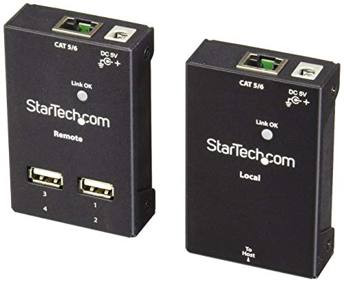 StarTech.com 4 Port USB 2.0-Over-Cat5 / 6 Extender - up to 130ft (40m) Cat5 or 165ft (50m) Cat6 - Cost-effective & Compact USB Extension