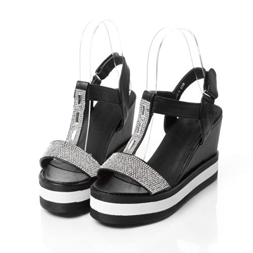 VogueZone009 Womens Open Toe High Heel Platform Wedges PU Soft Material Assorted Colors Sandals with Glass Diamond, Black, 4.5 UK