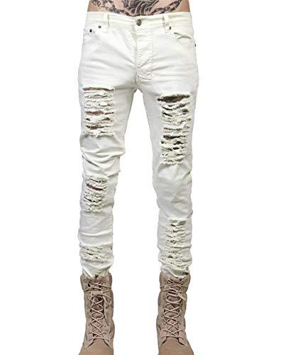Pantaloni Denim Uomo Slim Jeans Distrutti Da Casual Abbigliamento Morbido Biker Bianca Adelina Comodi Dritti In dfzUdq