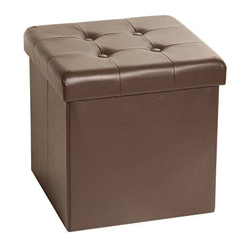 Seville Classics Foldable Faux Leather Storage Ottoman, Espresso