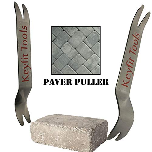Keyfit Tools Paver Puller Stainless Steel (2PC Set) Paver Extraction Removal Raise Sunken Brick & Pavers Locked by Edging & Other Pavers ()