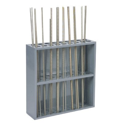 "Durham 367-95 Sturdy Steel Threaded Rod Rack, 18 Compartments, 6-7/8"" Length x 24-1/8"" Width x 24"" Height, Gray Powder Coat Finish from Durham"