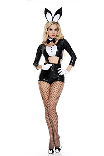Music Legs Women's Sinful Bunny, Black/White, X-Small