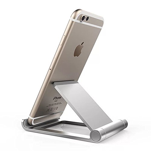 LJM New Portable Foldable Simple Cell Phone Stand Holder for Iphone8 Iphone X Iphone6s Iphone7 Iphone7 plus,Tablet holder For Bedroom,Bathroom,Kitchen,Silver