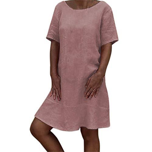 ZSBAYU Women's Shirt Dresses Casual Mini Dress Swing Short Sleeve Dress Plain Simple Linen T-Shirt Loose Dress Plus Size(Pink,L) -