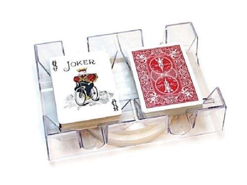 Revolving Playing Card Tray 2 Deck Swivel Holder Canasta Rummy UNO Poker Discard (Poker Swivel)