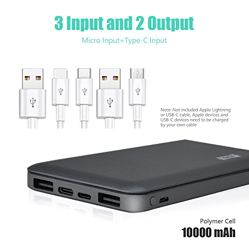 USB C power Bank TONV 10000mAh Battery Pack by signifies of  expand USB Port together 21A outcomes and 3 input for iPhone Android PhonesDifferent Electronic units Gray External Battery Packs