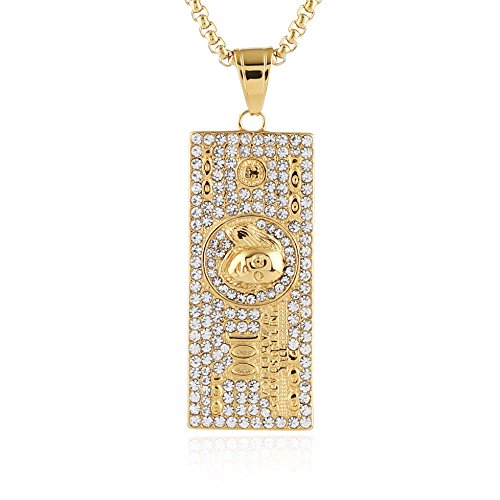 18k Gold Plated Case - HZMAN Mens 18K Gold Plated Dollar Stainless Steel Pendant Necklace,Cz Inlay hip hop Chain 24