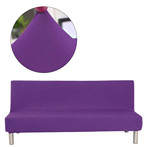 TOPCHANCES Polyester Spandex Sofa Cover Stretch Sofa Bed Cover Futon Slipcover Full Folding Elastic Armless Non-Slip Settee Folding Couch Sofa Shield Futon Cover (Solid Purple)