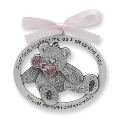 Pretty TEDDY BEAR Crib Medal for Baby GIRL Crib Medal with Verse 4