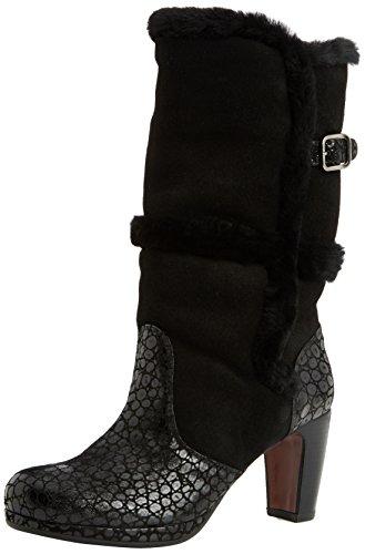 de negro negro de bajo negro Mihara josan piel mujer Chie botas caño lebon Schwarz facefur S7wUtWWq6