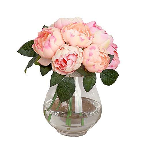 Hivot Artificial Peony Silk Flower Leaf Wedding Bouquet Party Home Garden Decor Craft Multicolor 1 Bouquet 6 Heads -