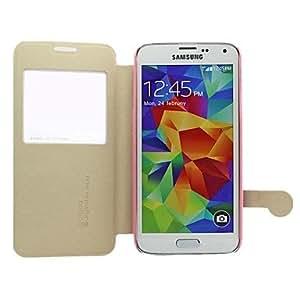 WQQ ventana de cuero caja del teléfono visualización flash aiqaa ™ limón pu tapa flip ultra-delgada para samsung galaxy s5 / i9600 (colores surtidos) , Golden