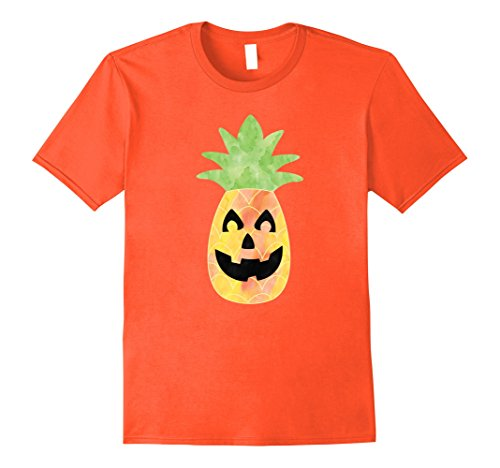 Mens Pineapple Happy Halloween Tropical Pumpkin Hawaiian Shirts Large Orange (Halloween Costumes With Hawaiian Shirts)