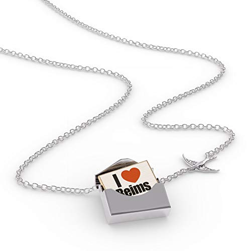 NEONBLOND Locket Necklace I Love Reims Region: Marne, Champagne-Ardenne in a Silver Envelope
