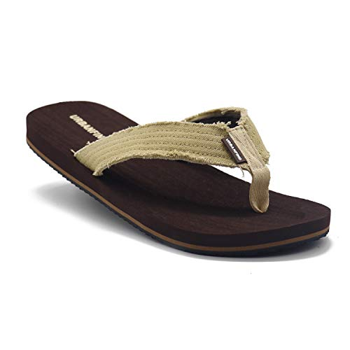 - URBANFIND Men's Flip Flops Canvas Thong Sandals Flat Slide On TPR Non Slip Slippers Brown, 12 D(M) US