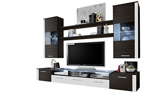 MEBLE FURNITURE & RUGS Wall Unit Modern Entertainment Center with LED Lights Fresh (vange/White)