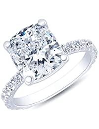 Natural, Not Enhanced, Cushion Cut Pave Diamond Engagement Ring, G-Color, VS1 Clarity - GIA Certified (Matching Band Not Included)