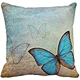 Blue Butterflies Throw Pillow Case Cushion Cover Fashion Home Decorative Pillowcase Gift 16x16 Twin Sides