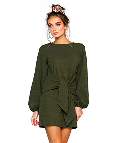 LIVFME Womens Puff Long Sleeve Tie Waist Mini Dress Ribbed T-Shirt Dresses Green