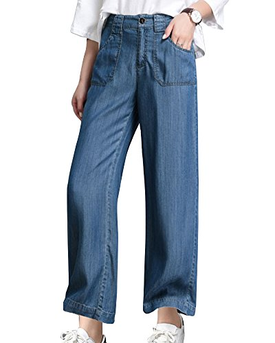 ZhuiKunA Mujer Jeans con Pierna Recta de Cintura Alta con Bolsillos Talle Alto Azul