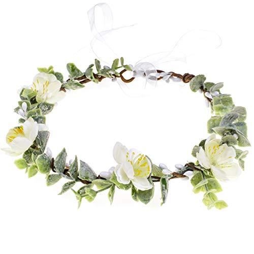 Christmas Wedding Flower Crown Boho Bridal Flower Wreath Babies Breath Hair Crown Headpiece (White-2)