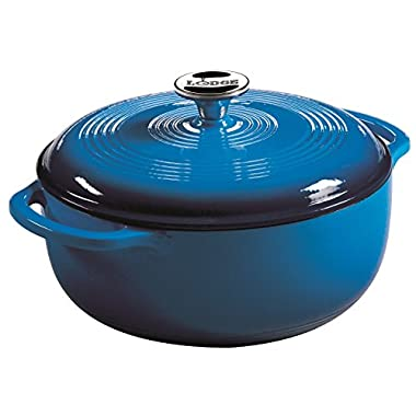 Lodge Color EC4D33 Enameled Cast Iron Dutch Oven, Caribbean Blue, 4.5-Quart