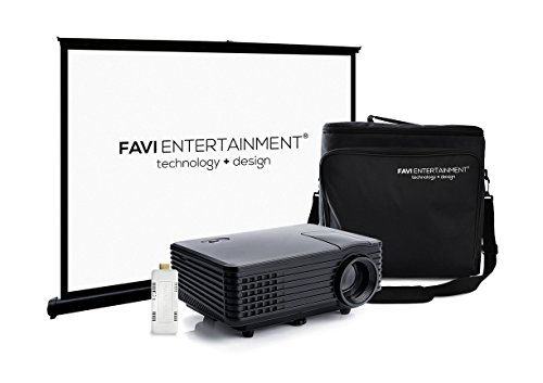 FAVI H1 LED LCD (WVGA) Mini Video Projector Kit, includes 3 items – projector, WiFi SmartStick V4, case – Black