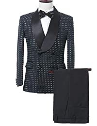 JYDress Men's Modern Black&White Polka Dots Men Suit Tailored Slim Fit Tuxedos 2 Piece Sets
