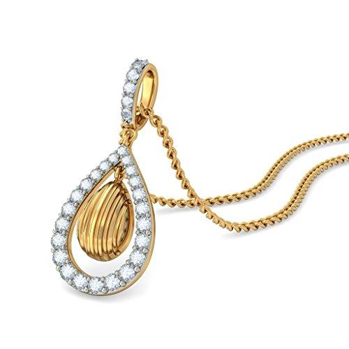 18K Or jaune 0,35CT TW Round-cut-diamond (IJ   SI) Pendentif