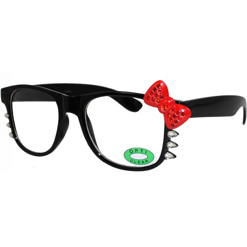 Cute Hello Kitty Nerd Clear Lens Eye Glasses Black Frame Red Bow Silver Rhinestone (Black Red Bow Red - Eyeglass Kitty Frames Hello