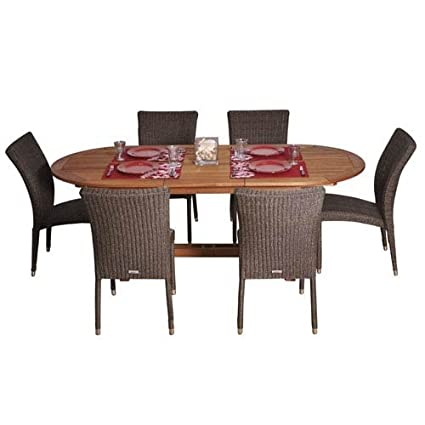 International Home Miami Amazonia 7 Piece Le Mans Dining Set In Brown