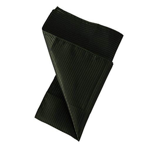 DEE3A0113 Dark Olive Green Stripes Wedding Anniversary Gift Pocket Square Woven Microfiber Perfect Price Hankerchief By Dan Smith Pocket Square Olive