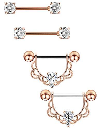 Masedy 2 Pairs 14G 316L Stainless Steel Nipplerings Nipple Tongue Rings Barball CZ Body Piercing Rose (Body Dangle Nipple Ring)