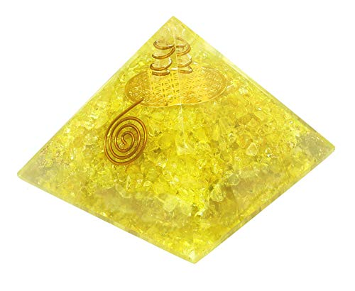 - Orgone Pyramid - Citrine Copper Healing Crystals - Orgone Energy Pyramid for EMF Protection Chakra Balancing - Heart Love Booster - Flower of Life