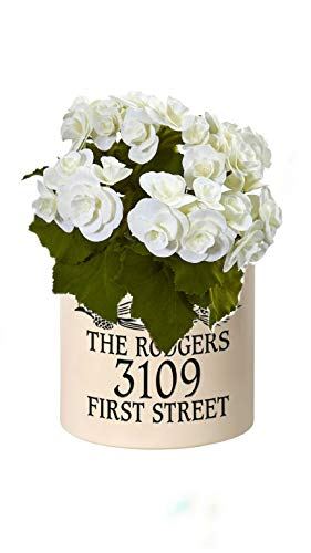 (Personalized Pinecone 2 Gallon Stoneware Crock (Black Crock with White Flower))