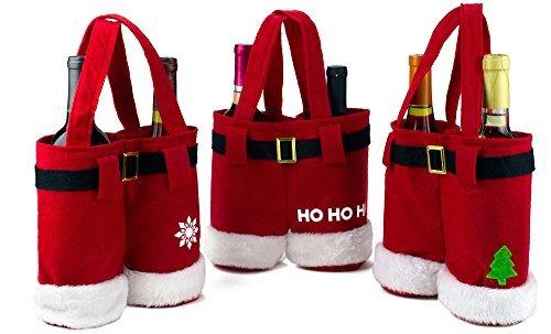3 Pcs Santa Pants Christmas Wine Gift Bags - Christmas Treat/Candy Bags Set