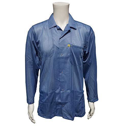 StaticCare ESD Jacket, with Lapel Collar and Snap Adjustment Sleeve, Blue, 2XL - Mid Thigh Smock