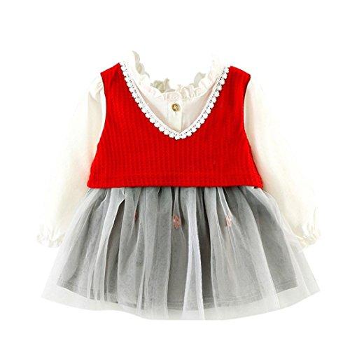 Grenadines Mug (Amanod Toddler Kids Girls Cute Bubble Dress Party Dress Princess Dress Grenadine Dress (Red, 100))