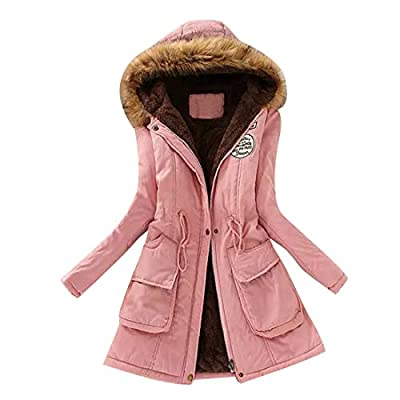 Jofemuho Womens Fur Collar Shaggy with Velvet Plus Size Cotton Mid Length Hoodie Puffer Coat