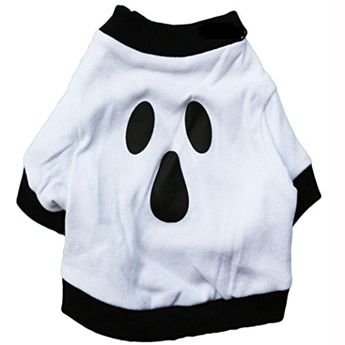 Halloween Dog Clothes, Misaky Christmas Cotton White Ghost Pet Shirt (L) (Halloween Ideas)