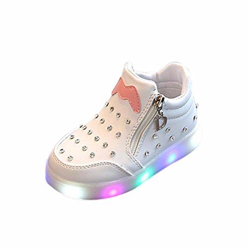 JIANGFU Kinder Kinder Mädchen Zip Kristall LED Leuchten Leuchtende Turnschuhe Schuhe, Kinder Sport Lichter Blinkende Kinderschuhe Cartoon LED Leuchtenden Weichen Boden Mädchen Schuhe Weiß