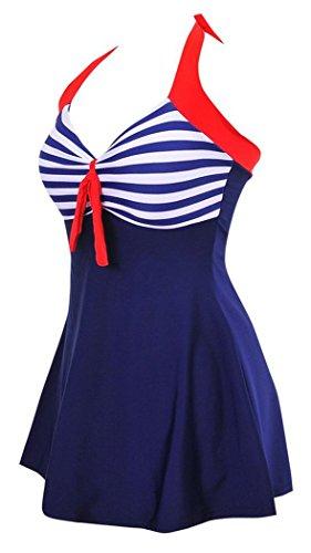 Sailor Vintage Up Di Un Costume Pin Pezzo Da Mae Summer Bagno Strisce Donna Blu WBTaaRwU