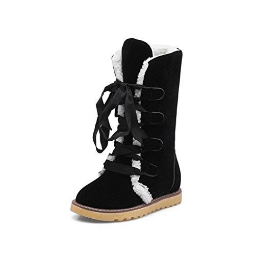 Frauen Winter Mode Schnee Verband Stiefel Frau rutschfeste Stiefeletten  Freizeit Schuhe Schwarz
